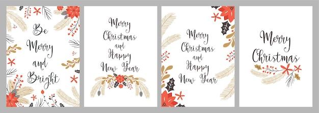 Feliz navidad y feliz año nuevo tarjeta de felicitación con elementos de dibujo a mano.