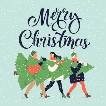 Feliz navidad y feliz año nuevo tarjeta de felicitación. grupo de personas que llevan grandes pinos de navidad juntos para la temporada navideña con adornos, regalos.