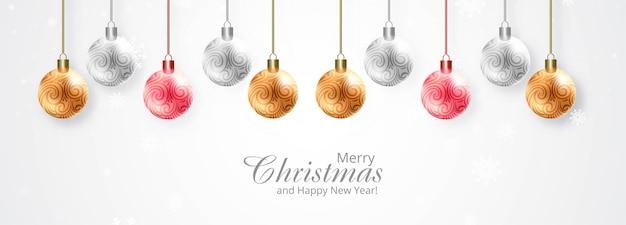 Feliz navidad y feliz año nuevo tarjeta de felicitación con hermosas bolas de navidad brillantes
