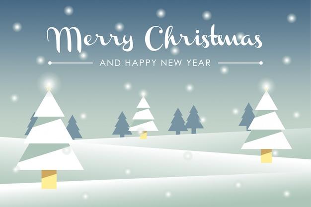 Feliz navidad y feliz año nuevo tarjeta de felicitación. ilustración de invierno invierno paisaje