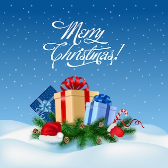 Feliz navidad y feliz año nuevo tarjeta de felicitación ilustración vectorial.