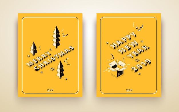 Feliz navidad y feliz año nuevo tarjeta de felicitación isométrica, cartel de vacaciones
