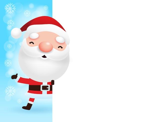 Feliz navidad y feliz año nuevo tarjeta de felicitación con lindo papá noel y letrero grande en banner de invierno de escena de nieve de navidad