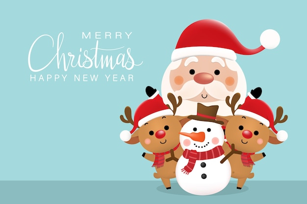 Feliz navidad y feliz año nuevo tarjeta de felicitación con lindo santa claus, ciervos y muñeco de nieve.