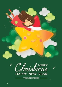 Feliz navidad y feliz año nuevo tarjeta de felicitación. niña abrazando en estrella sonriente