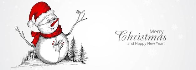 Feliz navidad y feliz año nuevo tarjeta de felicitación con personaje de muñeco de nieve alegre dibujado a mano