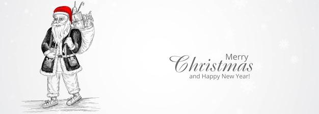 Feliz navidad y feliz año nuevo tarjeta de felicitación con personaje de santa claus alegre dibujado a mano