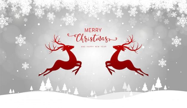 Feliz navidad y feliz año nuevo tarjeta de felicitación, renos