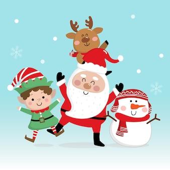 Feliz navidad y feliz año nuevo tarjeta de felicitación con santa claus