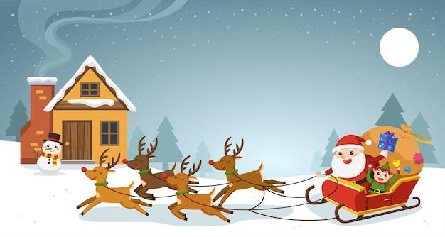Feliz navidad y feliz año nuevo tarjeta de felicitación. santa montando en trineo con renos.