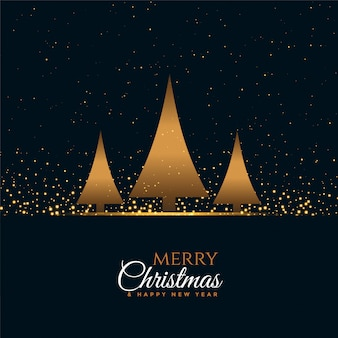 Feliz navidad y feliz año nuevo tarjeta de felicitación con tres árboles