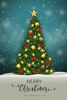 Feliz navidad y feliz año nuevo tarjeta de felicitación con vector de árbol de navidad