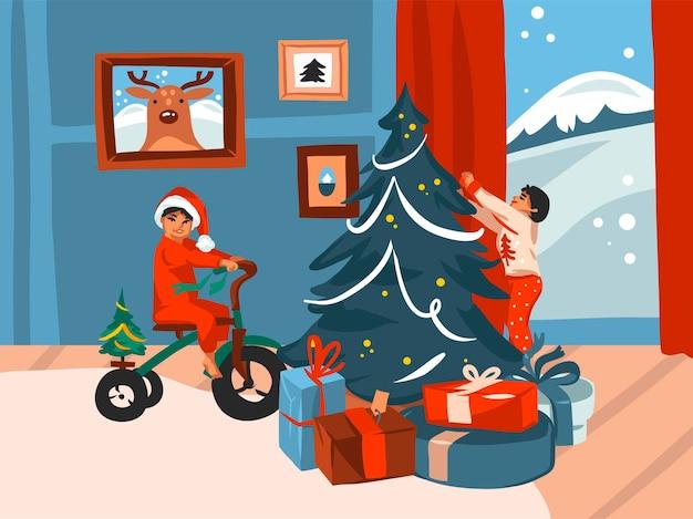 Feliz navidad y feliz año nuevo tarjeta festiva de dibujos animados
