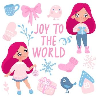 Feliz navidad y feliz año nuevo tarjeta de niña