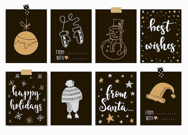 Feliz navidad y feliz año nuevo tarjetas vintage con caligrafía. letras escritas a mano. elementos de diseño dibujados a mano. elementos imprimibles