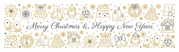 Feliz navidad y feliz año nuevo texto banner horizontal oro negro con icono de línea.