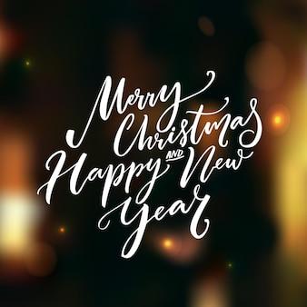 Feliz navidad y feliz año nuevo texto de caligrafía sobre fondo de vector oscuro con luces y bokeh. diseño de tarjetas de felicitación con tipografía.