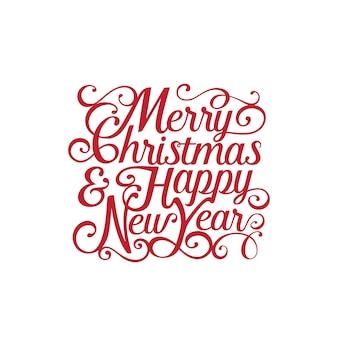 Feliz navidad y feliz año nuevo texto letras caligráficas.