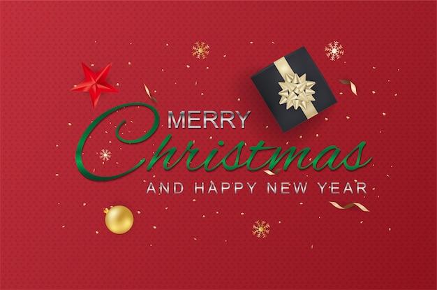 Feliz navidad y feliz año nuevo tipografía y elementos. tarjeta de felicitación o cartel plantilla folleto o invitación.