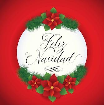 Feliz navidad (feliz navidad en español) composición de flores de poinsettia - espacio de copia