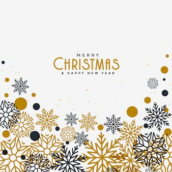 Feliz navidad fondo blanco con copos de nieve dorados y negros