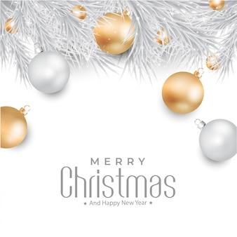Feliz navidad con fondo de bolas de oro y plata