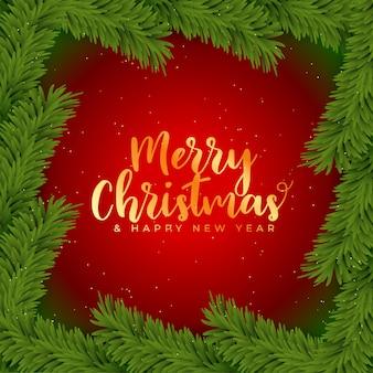 Feliz navidad fondo con decoración de hojas de árbol de navidad