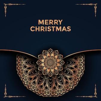 Feliz navidad y fondo con diseño de mandala ornamental vector premium