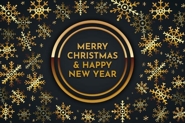Feliz navidad fondo de letras doradas