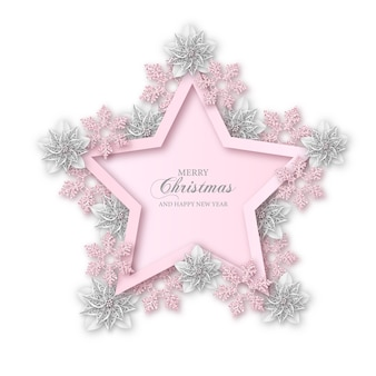 Feliz navidad de fondo. marco en forma de estrella con flores de nochebuena blancas y copos de nieve rosas