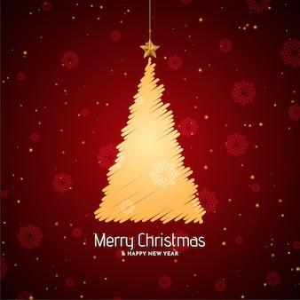 Feliz navidad fondo rojo con diseño de árbol de dibujo