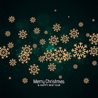 Feliz navidad fondo verde con copos de nieve
