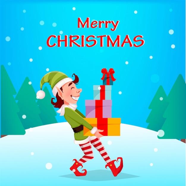 Feliz navidad. funny elf lleva cajas de regalo