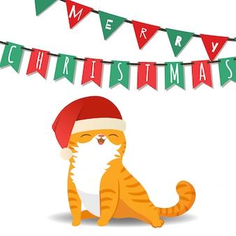 Feliz navidad con el gato disfraz de santa claus.
