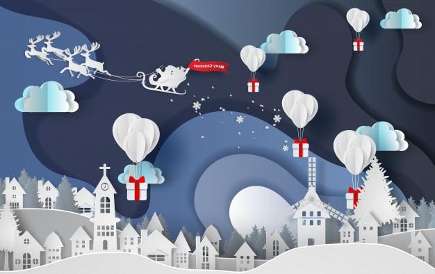 Feliz navidad de globos regalo en la ciudad.