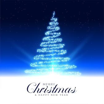 Feliz navidad hermosa tarjeta de árbol mágico