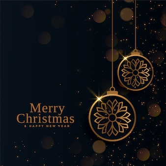Feliz navidad hermosas bolas doradas