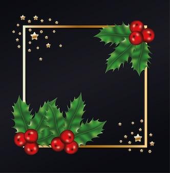 Feliz navidad hojea con cerezas y estrellas en fondo de marco dorado
