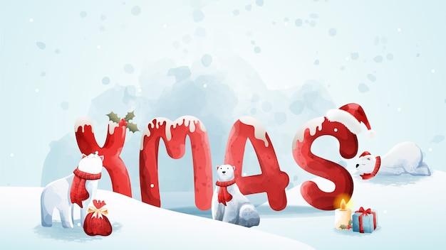 Feliz navidad y hola invierno con oso polar.