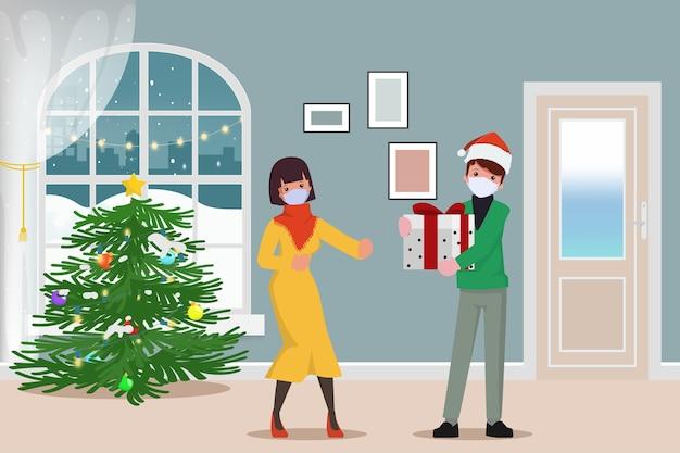 Feliz navidad y hombre de entrega con mascarilla ofrece regalos