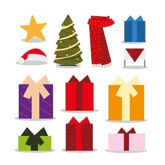 Feliz navidad iconos conjunto árbol bufanda regalos estrella decoración ilustración