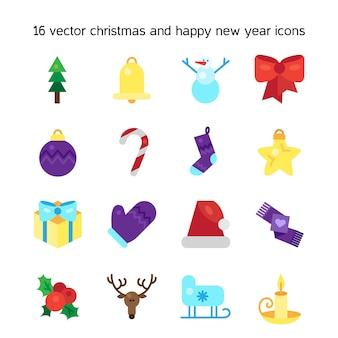 Feliz navidad iconos conjunto.
