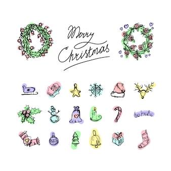 Feliz navidad iconos. feliz año nuevo simbolos signos de vacaciones de invierno.
