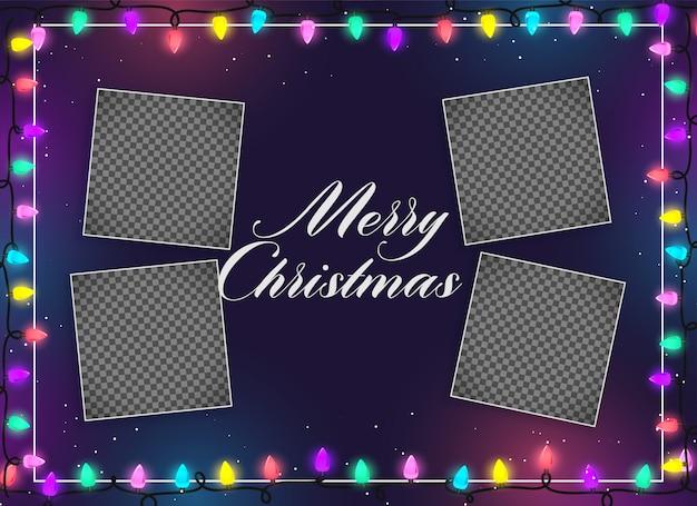 Feliz navidad ilumina la decoración con espacio de imagen.
