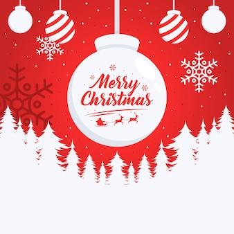 Feliz navidad ilustración de fondo en diseño plano