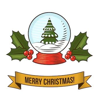 Feliz navidad con ilustración retro de globo de nieve