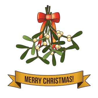 Feliz navidad con la ilustración retro santa rama