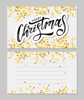 Feliz navidad inscripción caligráfica decorada con estrellas doradas y perlas.