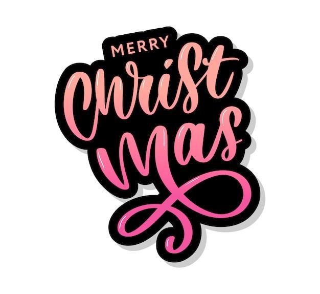 Feliz navidad inscripción caligráfica decorada con estrellas doradas y perlas