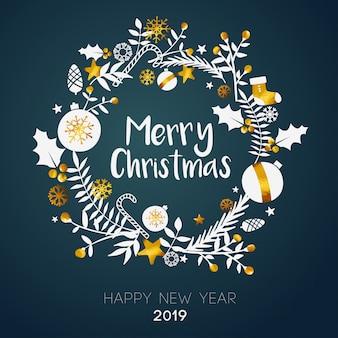 Feliz navidad en el interior de la tarjeta de oro del ornamento del círculo en el fondo oscuro del trullo